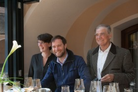 Martin Mittelbach, center, with his sister and father, at Tegernseerhof in Durnstein, Austria